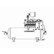 Powerex 10 HP Industrial Rotary Vane Vacuum Package 200 Gallon Horizontal Tank | IVS1005